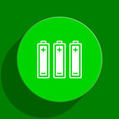 Battery green flat icon — Stock Photo