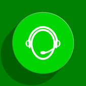 Customer service green flat icon — Stock Photo
