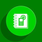 Phonebook green flat icon — Stock Photo