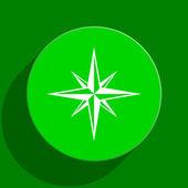 Compass green flat icon — Stock Photo