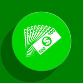 Money green flat icon — Stock Photo