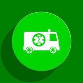 Ambulance green flat icon — Stock Photo