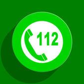 Emergency call green flat icon — Stock Photo