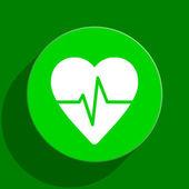 Pulse green flat icon — Stock Photo