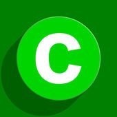 Copyright green flat icon — Stock Photo