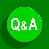 Question answer green flat icon — Stock Photo