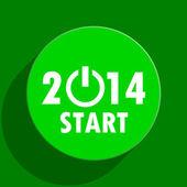 Year 2014 green flat icon — Stock Photo
