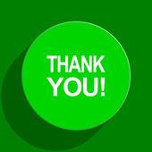Thank you green flat icon — Stock Photo