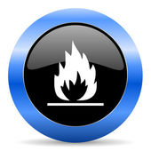 Flame blue glossy icon — Stock Photo