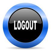 Logout blue glossy icon — Stock Photo