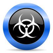 Biohazard blue glossy icon — Stock Photo
