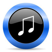Music blue glossy icon — Photo