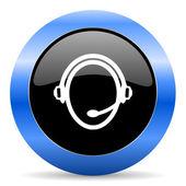 Icono brillante al cliente servicio azul — Foto de Stock