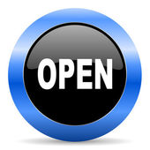 Open blue glossy icon — Stock Photo