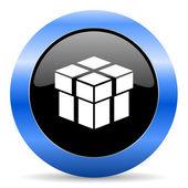 Box blue glossy icon — Stock Photo