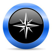 Compass blue glossy icon — Stock Photo