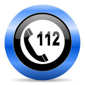 Emergency call blue glossy icon — Stock Photo