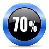 70 percent blue glossy icon — Stock Photo