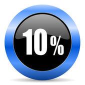 10 percent blue glossy icon — Stock Photo