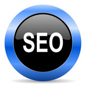 Seo blue glossy icon — Stock Photo