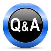 Question answer blue glossy icon — Stock Photo