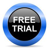Icono brillante azul prueba gratis — Foto de Stock