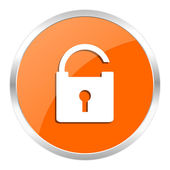 Padlock orange glossy icon — Stockfoto
