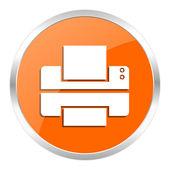 Printer orange glossy icon — Stock Photo