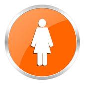 ženské oranžové lesklé ikona — Stock fotografie