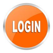 Login oranje glanzende pictogram — Stockfoto
