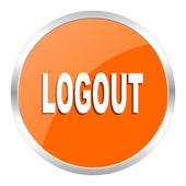 Logout orange glossy icon — Stock Photo