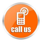 Call us orange glossy icon — Stock Photo
