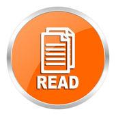 Read orange glossy icon — Stock Photo