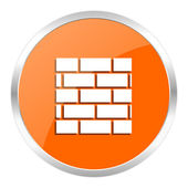 Firewall orange glossy icon — Stockfoto