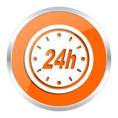24h orange glossy icon — Stock Photo
