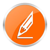 Pencil orange glossy icon — Stok fotoğraf