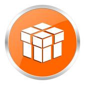 Box orange glossy icon — Stock Photo