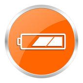 电池橙色光泽图标 — 图库照片
