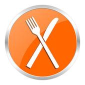 Restaurace oranžové lesklé ikona — Stock fotografie