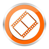 Film orange glossy icon — Stock Photo
