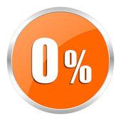 0 percent orange glossy icon — Stock Photo