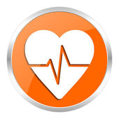 Pulse orange glossy icon — Stock Photo