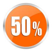50 percent orange glossy icon — Stock Photo