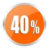 40 percent orange glossy icon — Stock Photo