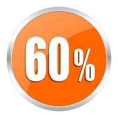 60 percent orange glossy icon — Stock Photo