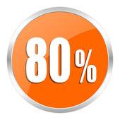80 percent orange glossy icon — Stock Photo