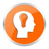 Head orange glossy icon — Stock Photo