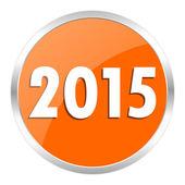 New year 2015 orange glossy icon — Stock Photo