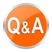 Question answer orange glossy icon — Stock Photo