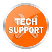 Technical support orange glossy icon — Stock Photo